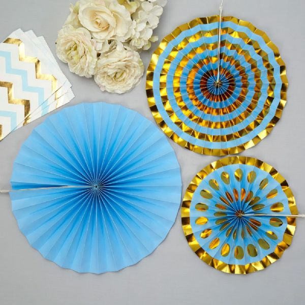 Blue & Gold Pinwheel Decorations (3)